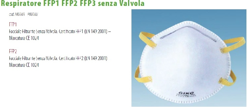 ffp3 senza valvola